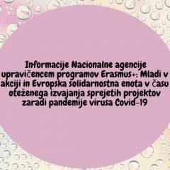 Informacije NA upravičencem programov E+: MVA in ESE o izvajanju projektov (covid-19)